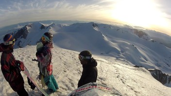 Snowboarding/Skiing off-piste using a snowmobile